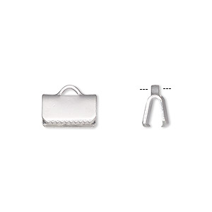 ribbon crimp end, silver-plated brass, 10x5mm smooth rectangle. sold per pkg of 100.