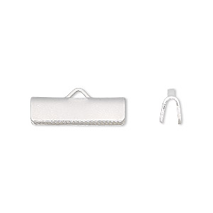 ribbon crimp end, silver-plated brass, 19x5mm smooth rectangle. sold per pkg of 10.
