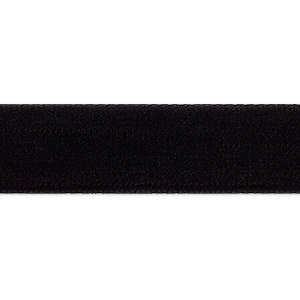 ribbon, velvet and nylon, black, 1/2 inch. sold per 15-yard spool.