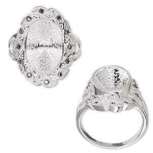ring, almost instant jewelry, glass rhinestone and silver-plated pewter (zinc-based alloy), grey, 23.5mm wide with leaf design and 14x10mm oval setting, size 8. sold individually.