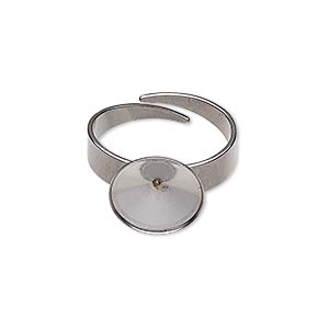 ring, almost instant jewelry, stainless steel, 12.5mm wide with 12mm rivoli setting, adjustable from size 5-9. sold per pkg of 2.