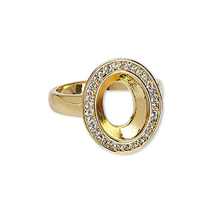 ring, almost instant jewelry, swarovski crystals and gold-plated pewter (zinc-based alloy), crystal clear, 20x17mm oval with 14x10mm oval setting, size 10. sold individually.