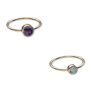 ring, amethyst / apatite (natural) / gold-finished sterling silver, 6mm and 7mm wide, size 8. sold per 2-piece set.
