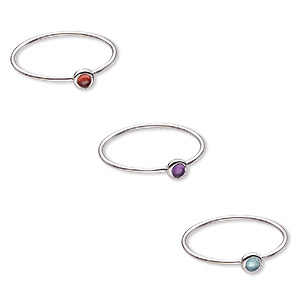 ring, amethyst / garnet / apatite / (natural) / sterling silver, 4.5mm wide, size 9. sold per 3-piece set.