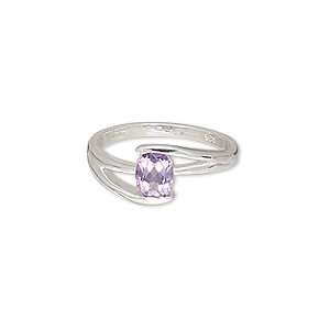 ring, amethyst (natural) and sterling silver, 8mm wide with 8x5mm faceted oval, size 7. sold individually.