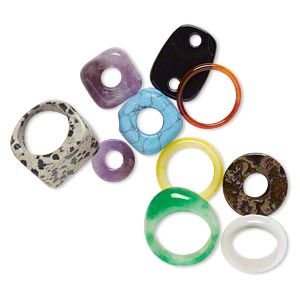 ring and component mix, multi-gemstone (natural / dyed / heated / imitation) and glass, multicolored, 14mm-25x18mm multi-shape, size 5-9, mohs hardness 3 to 7. sold per pkg of 10.