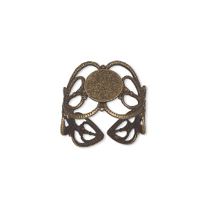 ring, antique brass, 14mm wide with double heart and 8mm round flat pad setting, adjustable from size 7-9. sold per pkg of 8.