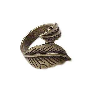 ring, antique gold-finished pewter (zinc-based alloy), 21mm wide with wrapped leaf design, size 8. sold individually.