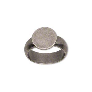 ring, antique silver-plated brass, 6mm wide, 12mm round flat pad setting, size 7. sold individually.