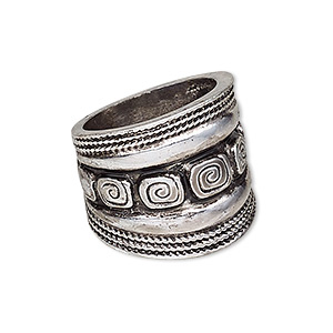 ring, antique silver-plated pewter (zinc-based alloy), 21mm wide with square swirl design, size 8. sold individually.