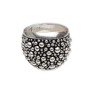 ring, antique silver-plated pewter (zinc-based alloy), 23mm wide with raised beaded pattern, size 8. sold individually.