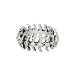ring, antique silver-plated pewter (zinc-based alloy), 9mm wide with vertebrae design, size 8. sold individually.
