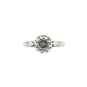 ring, antiqued sterling silver, 8mm flower with 4mm round bezel setting, size 7. sold individually.