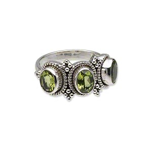 ring, antiqued sterling silver and peridot (natural), (3) 8x6mm faceted ovals, size 8. sold individually.