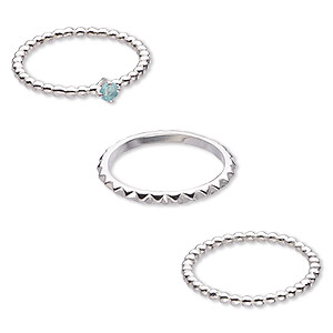 ring, apatite (natural) and sterling silver, 2mm wide spiked band / 2mm / 4mm wide beaded band, size 8. sold per 3-piece set.