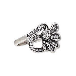 ring, austrian crystal and antique silver-plated pewter (zinc-based alloy), clear, 23x18mm flower, size 8. sold individually.