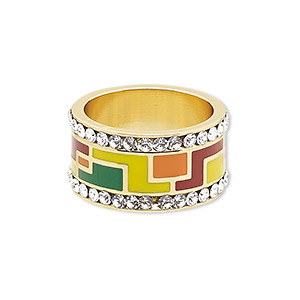 ring, avant-garde jewelry collection, enamel / czech glass rhinestone / gold-plated brass, multicolored, 12mm wide with geometric design, size 8-1/2. sold individually.