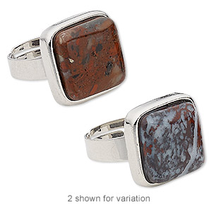 ring, brecciated jasper (natural) with silver-plated steel and pewter (zinc-based alloy), 18x18mm-19x19mm square, adjustable from size 5-9. sold individually.