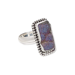 ring, druzy agate (coated) and antiqued sterling silver, purple ab, 22x12mm beaded rectangle with 18x9mm rectangle, size 8. sold individually.