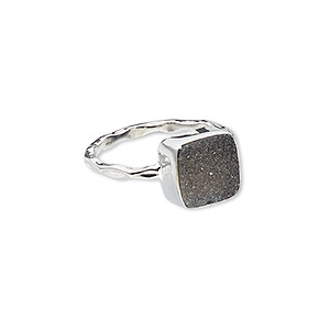 ring, druzy (dyed) and sterling silver, black, 10mm wide with square, size 7. sold individually.