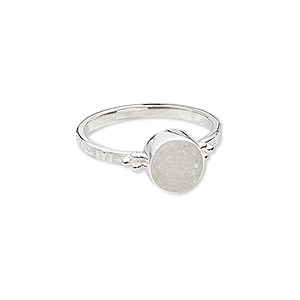 ring, druzy (natural) and sterling silver, 9mm wide with round, size 9. sold individually.