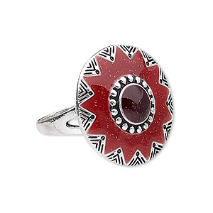 ring, enamel and antique silver-plated pewter (zinc-based alloy), red and dark red, 25mm round, size 10. sold individually.