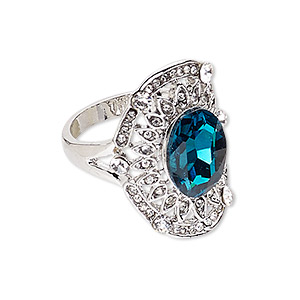 ring, glass / egyptian glass rhinestone / imitation rhodium-plated pewter (zinc-based alloy), turquoise blue and clear, 28x20mm oval, size 9. sold individually.