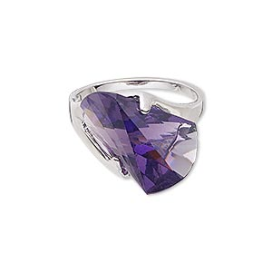 ring, glass and imitation rhodium-finished brass, amethyst purple, 18x14mm wedge, size 9. sold individually.
