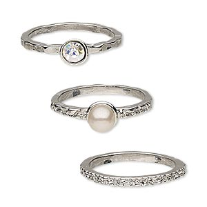 ring, glass rhinestone / glass pearl / rhodium-finished pewter (zinc-based alloy), clear ab and mauve, 2mm wide with 4mm faceted round / 2mm wide textured / 2mm wide textured with 6mm round, size 8. sold per 3-piece set.