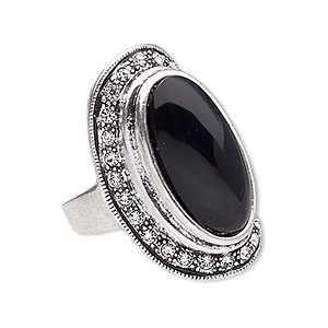 ring, glass rhinestone / resin / antique silver-plated pewter (zinc-based alloy), black and clear, 33x20mm oval, size 8. sold individually.