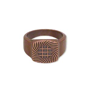 ring, glue-on, antique copper-plated pewter (zinc-based alloy), smooth band with 13x13mm flat base, size 7.5. sold individually.