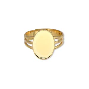 ring, gold-plated brass, 15x11mm with 14x10mm oval setting, adjustable from size 7-8. sold per pkg of 6.