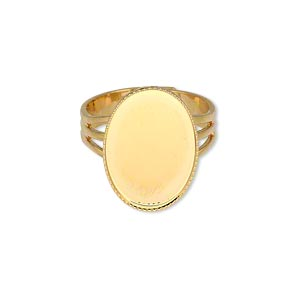 ring, gold-plated brass, 19x14mm with 18x13mm oval setting, adjustable from size 7-10. sold per pkg of 6.