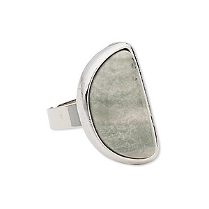 ring, green line jasper (natural) with silver-plated steel and pewter (zinc-based alloy), 27x15mm-27x16mm half round, adjustable from size 5-9. sold individually.