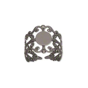 ring, gunmetal-plated brass, 16mm wide with filigree design and 8mm round flat pad setting, adjustable from size 7-9. sold per pkg of 8.
