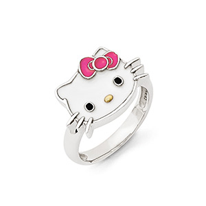 cec8e7a24 Ring, Hello Kitty®, enamel and sterling silver, multicolored, 14mm Hello  Kitty face, size 8. Sold individually.