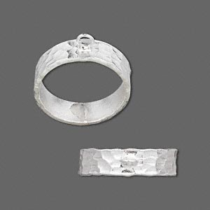 ring, hill tribes, fine silver, 5.75mm hammered band with loop, size 7-1/2. sold individually.