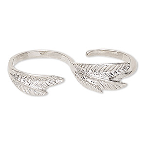 ring, imitation rhodium-finished pewter (zinc-based alloy), 43mm double band with leaf design, size 8. sold individually.
