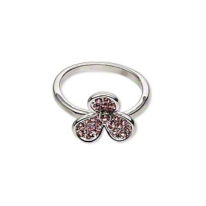 ring, imitation rhodium-finished pewter (zinc-based alloy) and glass rhinestone, pink, 12x12mm clover, size 7. sold individually.