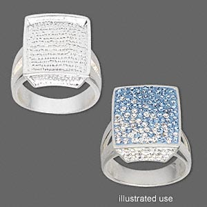 ring, imitation rhodium-plated pewter (zinc-based alloy), 15.5x14.5mm square, size 8. sold individually.