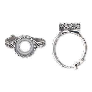 ring, jbb findings, antique silver-plated brass, 12mm wide with decorative trim and 10mm round bezel setting, adjustable from size 8-11. sold individually.