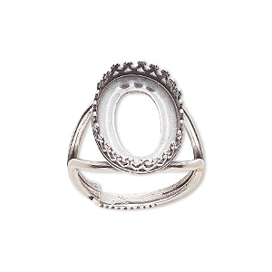 ring, jbb findings, antique silver-plated brass, 20x14.5mm oval with 18x13mm oval bezel setting, adjustable from size 6-8. sold individually.