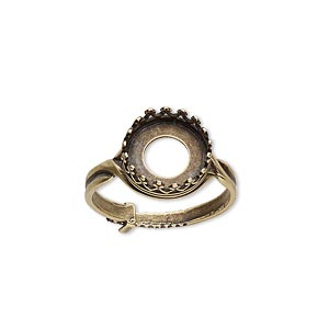 ring, jbb findings, antiqued brass, 12mm round with 10mm round bezel setting, adjustable from size 6-8. sold individually.