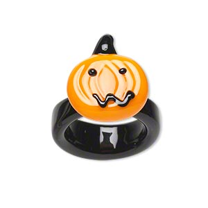 ring, lampworked glass, black and orange, 20x17mm jack-o-lantern face, size 7.5 to 8. sold individually.
