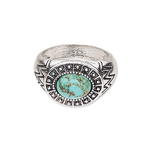 ring, magnesite (dyed / stabilized) and antique silver-plated pewter (zinc-based alloy), turquoise blue, 18mm wide with oval, size 9. sold individually.