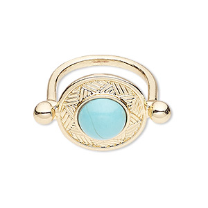 ring, magnesite (dyed / stabilized) and gold-finished pewter (zinc-based alloy), turquoise blue, 20mm round, size 9. sold individually.