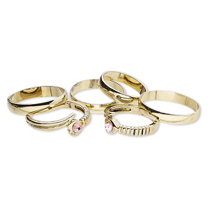 ring mix, glass rhinestone and gold-finished brass, pink, 4mm and 8mm wide, size 5 to 12-1/2. sold per pkg of 6.