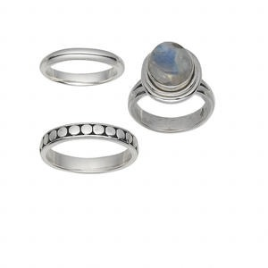 ring mix, multi-gemstone (natural / dyed) and sterling silver, 4-11mm, size 5-10. sold per pkg of 3.