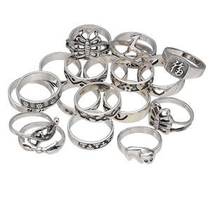 ring mix, sterling silver, mixed shapes, size 5-9. sold per pkg of 50 grams, approximately 15 rings.