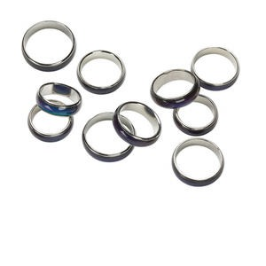ring, nickel-plated brass, multicolored, 6mm wide mood ring, sizes 6 to 10-1/2. sold per pkg of 10.